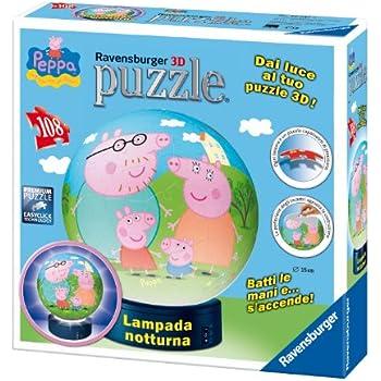 Ravensburger 12247 - Peppa Pig Lampada Notturna Puzzle 3D, Building