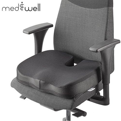 MEDIWELL Orthopädisches Sitzkissen mit Anti-Rutsch Bezug | Stuhlkissen wirkt schmerzlindernd und sorgt für aufrechte Körperhaltung | für Rücken/ Steißbein-Entlastung | Geeignet für Auto, Reise, Büro
