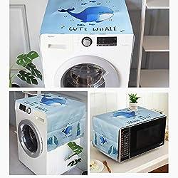Mr.You Abdeckung für Waschmaschine, Kühlschrank/Nachttisch, staubdicht, mit Organizer-Tasche, passend für die meisten Waschmaschine und Kühlschrank (L139,7 cm H55,9 cm, Blauwal)