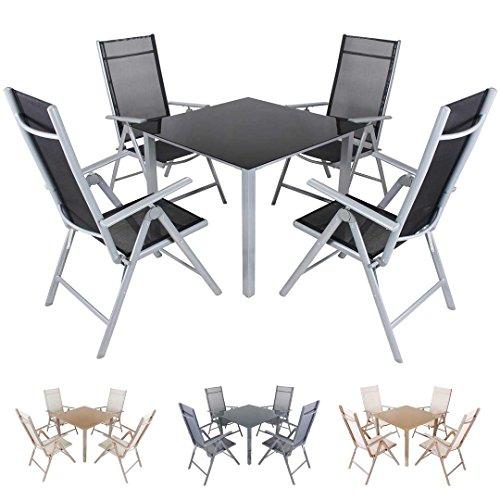 Miweba Moreno 4+1 Aluminium Sitzgarnitur 90x90 Alu Gartenmöbel 4 Stühle Sitzgruppe Tisch Gartenset Gartengarnitur in Verschiedenen Farben und Ausführungen (Farbe: Grau Schwarz - Ausführung: Classic)