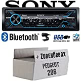 Peugeot 206 - Sony MEX-N4200BT | Bluetooth CD/MP3/USB Autoradio - Einbauset