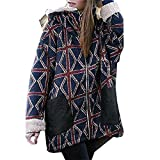 Oliviavan,Hoher Baumwollanteil Streifenmuster Winterparka Warm Mantel Coat Plus Size Winter Jacke Frauen Woolen Oberbekleidung Casual Long Down Warm Overcoat
