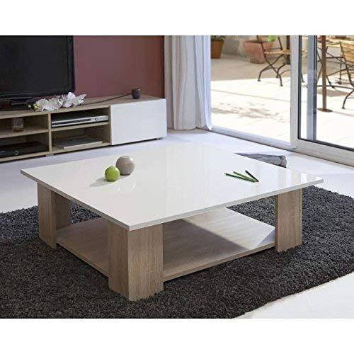 Symbiosis 2086A3419L00 Table Basse Bois Chêne/Naturel/Plateau Laque/Blanc 89 x 30,5 x 89 cm