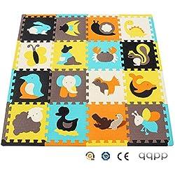 qqpp Tapis de Puzzles - Tapis de Sol épais pour l'éveil de bébé - Puzzle géant aux Motifs Animaux- dès 10 Mois - Lot de 16 Dalles en Mousse Multicolores et 16 côtés Droits éléments pour Tapis de Jeu.