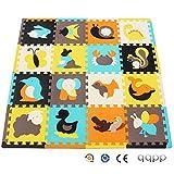 qqpp Tapis de Puzzles - Tapis de Sol épais pour l'éveil de bébé - Puzzle géant aux Motifs Animaux- dès 10 Mois - Lot de 16 Dalles en Mousse Multicolores et 16 côtés Droits éléments pour Tapis de Jeu....