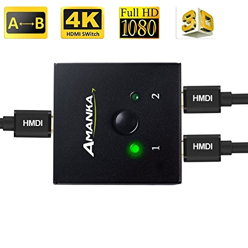 AMANKA Switch HDMI Bidirezionale 2 Ingressi 1 Uscita Supporta 3D 1080P o Commutatore HDMI 1 Ingresso 2 Uscite Per HDTV / Blu-Ray player / DVD / DVR / Xbox / PS4 ecc