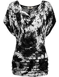 DJT Femme T-shirt d'ete Manches courtes Casual Tops Tunique