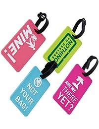 lot de 4 étiquettes de bagage pour voyage en PVC de différents couleurs (A)
