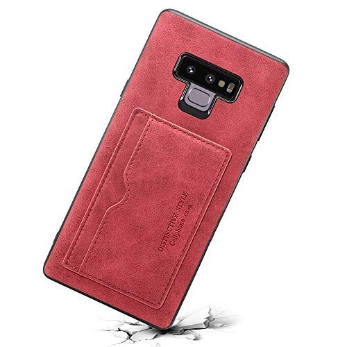 Samsung Galaxy Note 9 Lite Leder Handy Hülle Flip Case Handytasche Cover Schale mit Kredit Karten Fach Geldbörse Standkuntion Schutzhülle,Rot