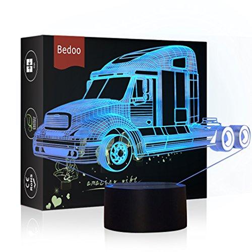 HeXie Weihnachtsgeschenk Magic Truck Lampe 3D Illusion 7 Farben Touch-schalter USB Einsatz LED-Licht Geburtstagsgeschenk und Party Dekoration