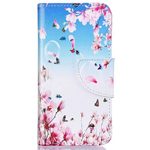 kompatibel mit Huawei Y5 II Hülle,Huawei Y6 II Compact Lederhülle,Huawei Y6 II Compact Tasche Leder Flip Case Brieftasche,Gelmat Muster Handyhülle Schutzhülle für Huawei Y5 II (Rosa Pfirsichblüte)