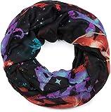 styleBREAKER Damen Loop Schal mit Sterne-Nebel Weltall Motiv, Schlauchschal, Tuch 01017092, Farbe:Schwarz