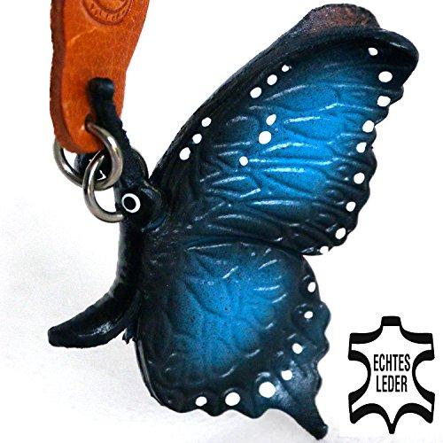 Schmetterling-e Merle - Deko Schlüssel-anhänger Figur 3d Flügel design aus Leder in der Kategorie Kuscheltier / Plüschtier / Stofftier von Monkimau in blau schwarz weiß - Dein bester Freund. Immer dabei! - ca. 5cm klein (Italienischen Falten Leder)