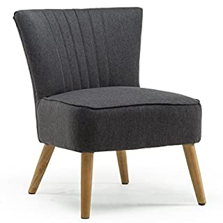AYLA LINEN RETRO OCCASIONAL BEDROOM LOUNGE FABRIC ACCENT CHAIR (Charcoal)