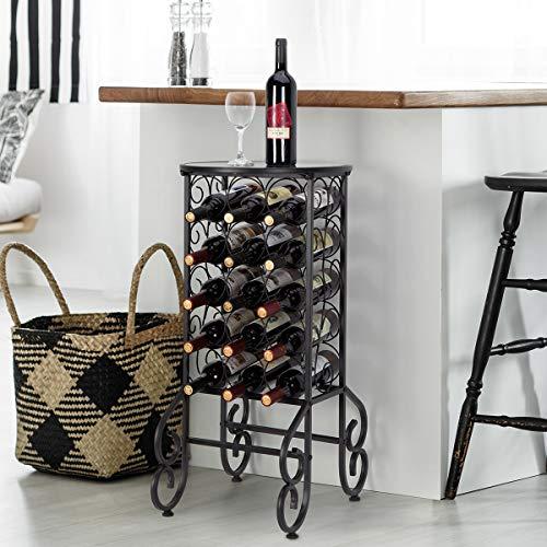 GIGALUMI Weinregal für 15 Flaschen aus Schwarz Metall Vintage Flaschenregal mit runder Glasplatte Weinhalter Weinständer Flaschenständer