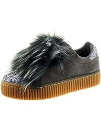bb660ea91ad82 Angkorly - Scarpe da Moda Sneaker bi-Materiale Zeppe Donna Pelliccia Strass  Finitura Cuciture Impunture