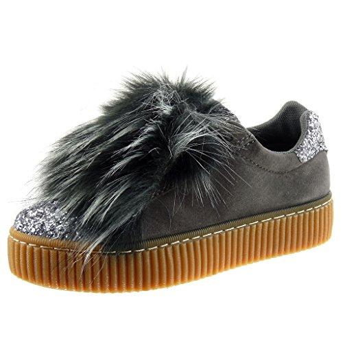Angkorly - Sneaker Da Donna - Bi-materiale - Zeppe - Pelliccia - Strass - Tacco Piatto Rifinito 3,5 Cm Grigio