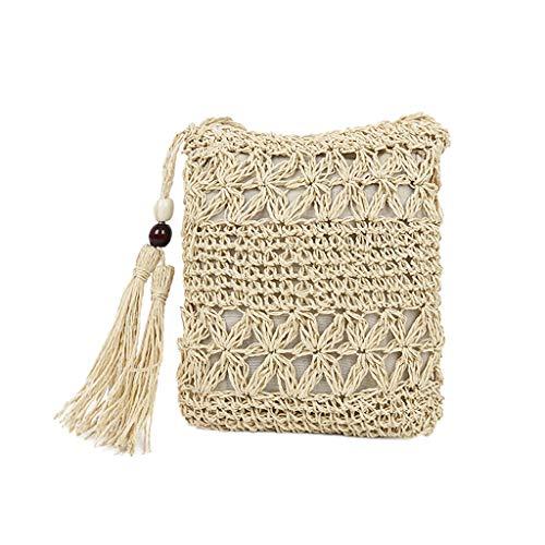 Strand Tasche Tote Handtasche (Hmeng Schultertasche Stroh Strand Tasche Sommer Handtaschen Schulter Tote Quasten Frau Handgewebte (Weiß))