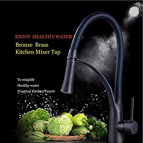Küchenarmatur Pull-Down-Sprayer 360 Rotation Einhebelmischer Waschbecken Wasserhahn Schwarz Gummi-Armaturen (Küchenarmatur Pull-down-schwarz)