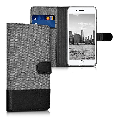 kwmobile Funda para Apple iPhone 7 Plus / 8 Plus - Wallet Case plegable de cuero sintético - Cover con tapa tarjetero y soporte en gris negro