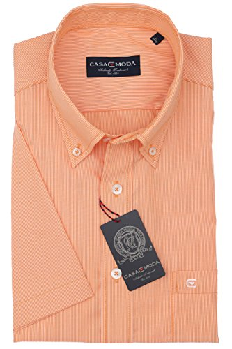 Casa Moda - Herren Kurzarm Freizeithemd mit Button-Down Kragen 962639500A Orange (451)