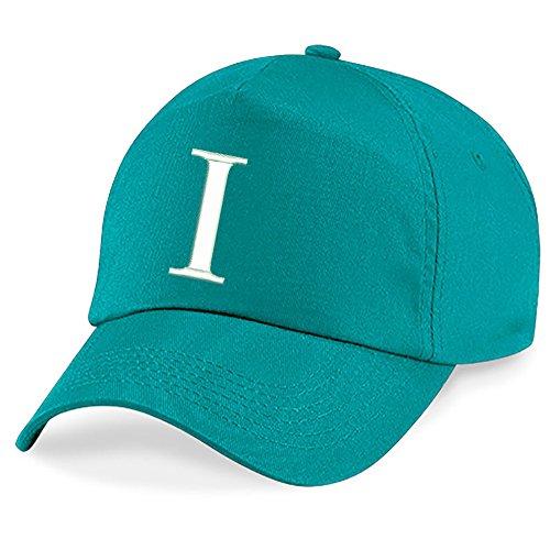 Casquette 4sold Unisexe Broderie Coton Baseball Cap Garçons Filles Hip Hop Flat Hat Bonnet A-Z Alphabet Burgundy Emerald I