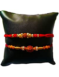 DMS Retail Red Rudraksh Multi-Colored Rakhi With Roli Chawal For Boys/Men - Set Of 2