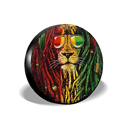 Vbnbvn Reserveradabdeckung, Rock Rasta Lion Wheel Covers Tyre Cover Tires Protector Covers Weatherproof Tire Protectors