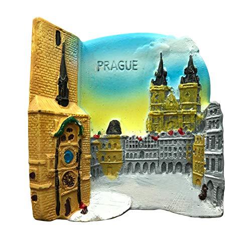 Imán de nevera Praga 3D para nevera, recuerdos de viaje, resina, decoración del hogar, imán de Praga para nevera