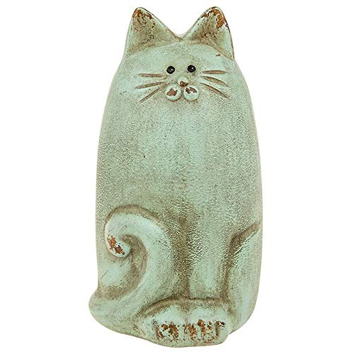 Mad By Design (Cat Mad Designs Dekofigur Katze im Landhausstil, Shabby Chic, Aqua)