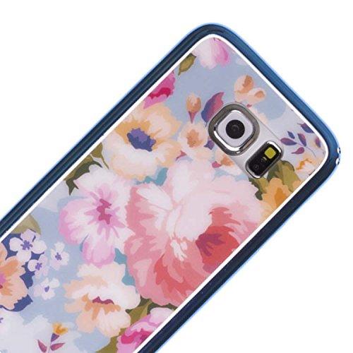 Vahalla Accesori Schutzhülle für Samsung Galaxy S6 Edge, aus Gel, mit Blumenmotiv, Blau