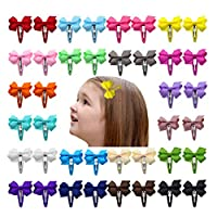 Ruyaa 2 Inch Hair Bows Snap Clips Barrettes for Baby Girls Toddlers Kids - - One size