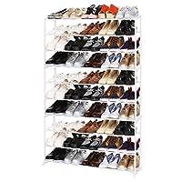 BATHWA 10 Tiers Shoe Rack Storage Shoe Tower Shelf Stackable Entryway 50 Pairs Shoe Storage Unit,White