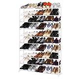 Homdox Metall Schuhregal Schuhschrank mit 10 Ablagen für bis zu 50 Paar Schuhe, ca L92 x W17 x H138cm (10 Schichten, Weiss)