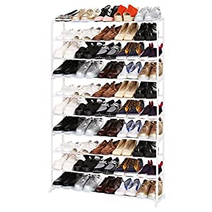 Homdox Metall Schuhregal Schuhschrank mit 10 Ablagen für bis zu 50 Paar Schuhe, ca L92 x W17 x H138cm (10 Schichten…