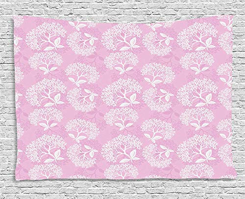 MLNHY Pink and White Tapestry, Gentle Nature Theme with Hydrangea Flowers Foliage Tender Spring...