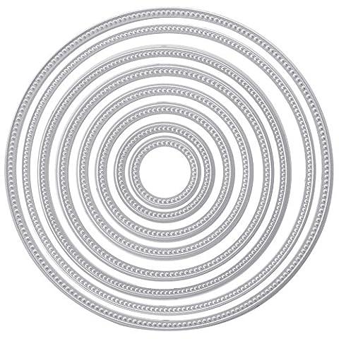 Loegrie 8pcs Cercle rond en métal de coupe Dies Pochoirs