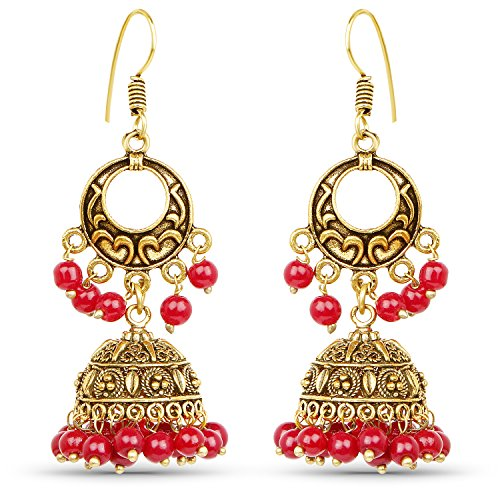 Johareez Chand Bali Style Jhumki Earrings with Red Colour Beads  available at amazon for Rs.239