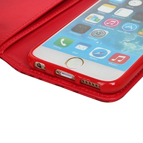 Custodia iPhone SE, ISAKEN iPhone 5S Flip Cover Case, iPhone 5 Wallet Cover con Strap, Elegante borsa Fiori Design in Pelle Sintetica Ecopelle PU Case Cover Protettiva Flip Portafoglio Case Cover Prot rose: rosso