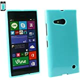 Emartbuy® Nokia Lumia 735 / Lumia 730 Dual Sim LCD Screen Protector And Shiny Gloss Gel Hülle Schutzhülle Case Cover Blau