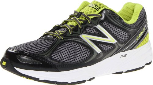 New Balance M840 Herren Maschenweite Laufschuh Black with Grey & Lime Green
