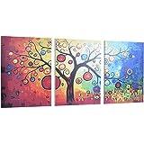 Muzilife Leinwandbild 150x70cm Abstrakte Baum 3 Teilige Kunstdruck Bunte Gemälde für Wohnzimmer zum Aufhängen (50x70cm 3Stücke)