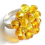 Große Anweisung Amber Flower Ring einstellbar 17/19