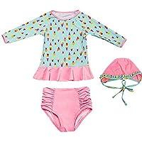 JLWF Traje De Baño para Niños Split Flat Protector Solar De Manga Larga Bikini Cálido Pink-S
