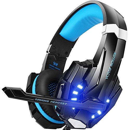 Gaming Headset PS4, VersionTech 3,5mm Stereo Wired Over-Ear-Kopfhörer mit Mikrofon LED-Licht In-line Lautstärkeregler für PS4 New Xbox One PC MAC Laptop iPad und Smartphone - Blau