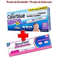 Clearblue - Prueba de ovulación digital, 10 unidades - Clearblue avanzada Kit De Pruebas De Ovulación Digital + EASYTEST Prueba de Embarazo