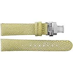 Watch Strap in White Galuchat - 20 - - buckle in Silver stainless steel - B20027