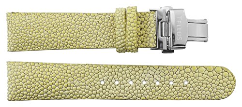 Armbanduhr lederarmband in Weiß Galuchat - 20 - - Schnalle in Silber Edelstahl - B20027