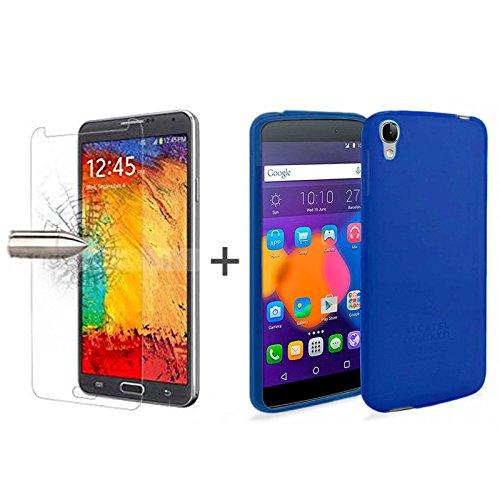 TBOC® Pack: Blau Gel TPU Hülle + Hartglas Schutzfolie für Alcatel One Touch Idol 3 (4.7). Ultradünn Flexibel Silikonhülle. Panzerglas Bildschirmschutz in Kristallklar in Premium Qualität.