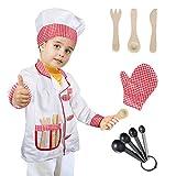Tacobear Chef Disfraz para niños Chef Accesorios Cocinero Disfraz de rol para Navidad Fiesta Cosplay 8 Piezas